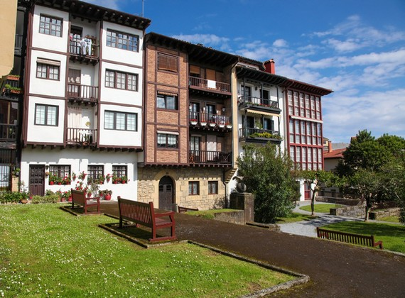 Old houses near the Santa Maria port of  Hondarribia, a town in Gipuzkoa, Basque Country, Spain, near the French border.