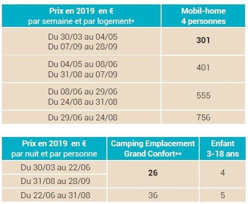 camping grande motte prix 2019