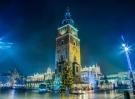 Krakow old city at night. Market Square at night.